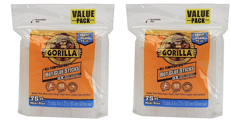 Gorilla 3027502 Hot Glue Sticks 4 In. Mini Size, 75 Count, (Pack of 2)