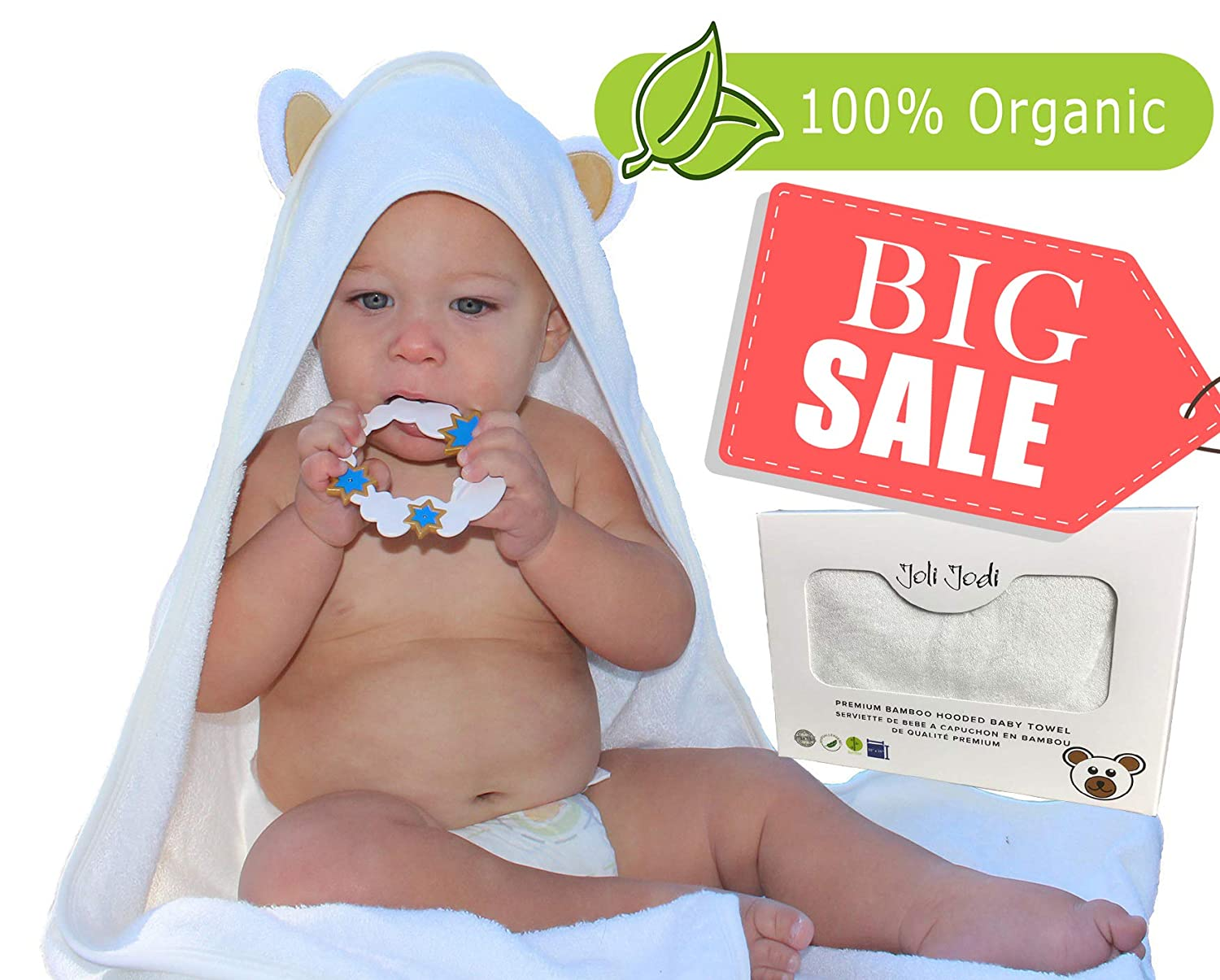Joli Jodi Organic Extra Soft Bamboo Hooded Baby Towel |Beach and Bath Towel |Antibacterial and Hypoallergenic| Highly Absorbent & Sized for Infant and Toddler(90 * 90 CM) | 500 GSM | Acadook Technology Inc