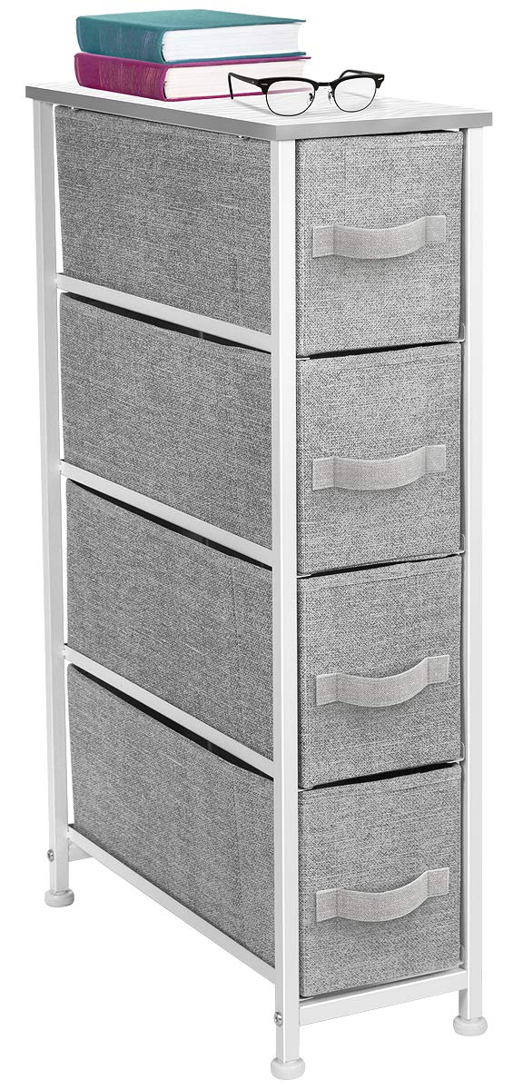 Sorbus Narrow Dresser Tower with 4 Drawers - Vertical Storage for Bedroom, Bathroom, Laundry, Closets, and More, Steel Frame, Wood Top, Easy Pull Fabric Bins (White/Gray) by Sorbus