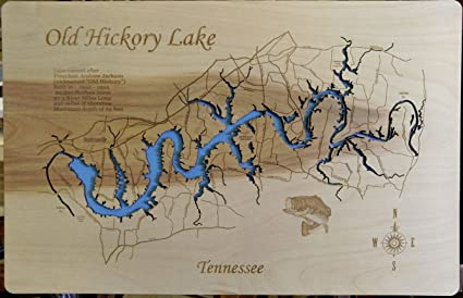Old Hickory Lake Topographic Map.Amazon Com Wood Map Wall Hanging Old Lake Hickory Tennessee