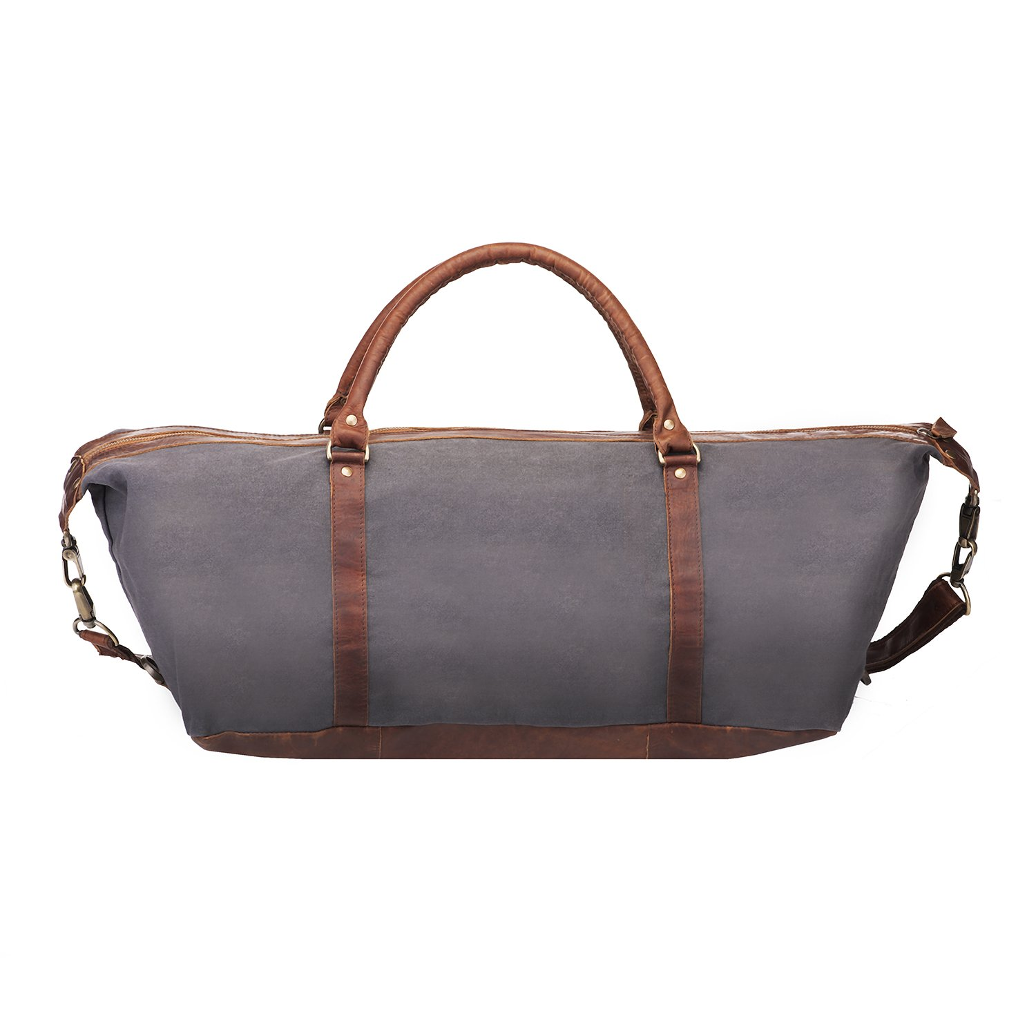 cfefbc4fc67e Canvas Leather Duffle Bag Overnight Bag Weekend Bag Gym Bag in Grey Canvas  and Brown Leather by MAHI Leather  Amazon.co.uk  Luggage