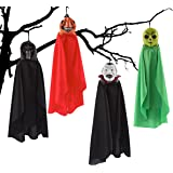 Spooktacular Creations Set of Four 16 Inch Hanging Ghost Halloween Decorations With Different Designs