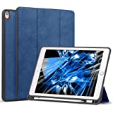 Wonzir iPad Pro 10.5 ケース Apple Pencil 収納可能 スタンド機能 iPad Pro 10.5 インチ (2017モデル) 軽量 薄型 保護カバー シンプル 三つ折タイプ 全面保護型 傷つけ防止 iPad Pro 10.5 手帳型 ケース PU 便利なペンホルダー付き (モデル番号A1701 A1709) (iPad pro 10.5, ブルー)