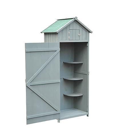77lx 54,2 wx179h cm gris madera cobertizo con 3 estantes y una ventana puerta