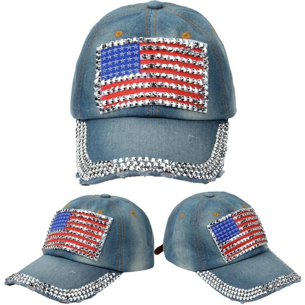 b66f42d175d Amazon.com  YJYdada Women American Flag Rhinestone Jeans Denim Baseball  Adjustable Bling Hat Cap (A)  Health   Personal Care