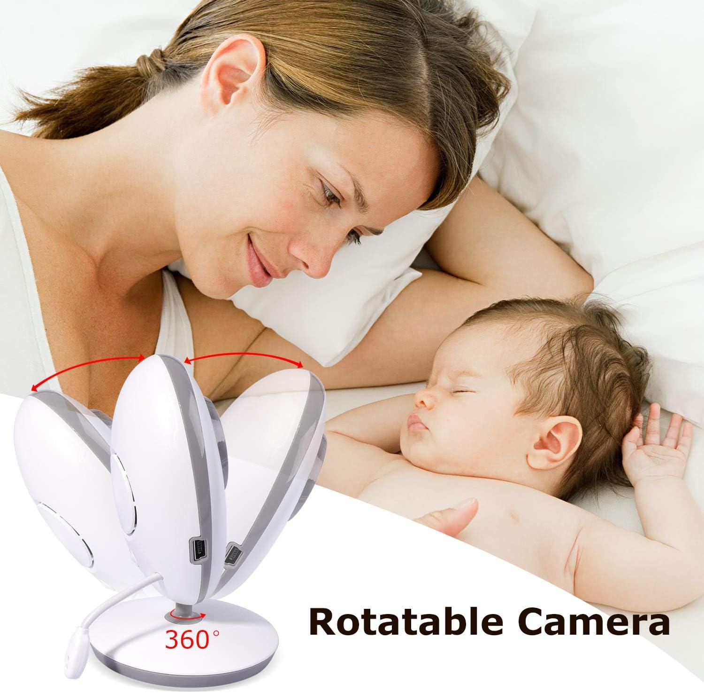 Audio Bidirectionnel,Capteur de Temp/érature et Berceuse int/égr/é JK2-2.0/'/'LC Babyphone num/érique sans Fil 2.4 GHz avec LCD Cam/éra Surveillance Markboard B/éb/é Moniteur Vision Nocturne VOX Mode