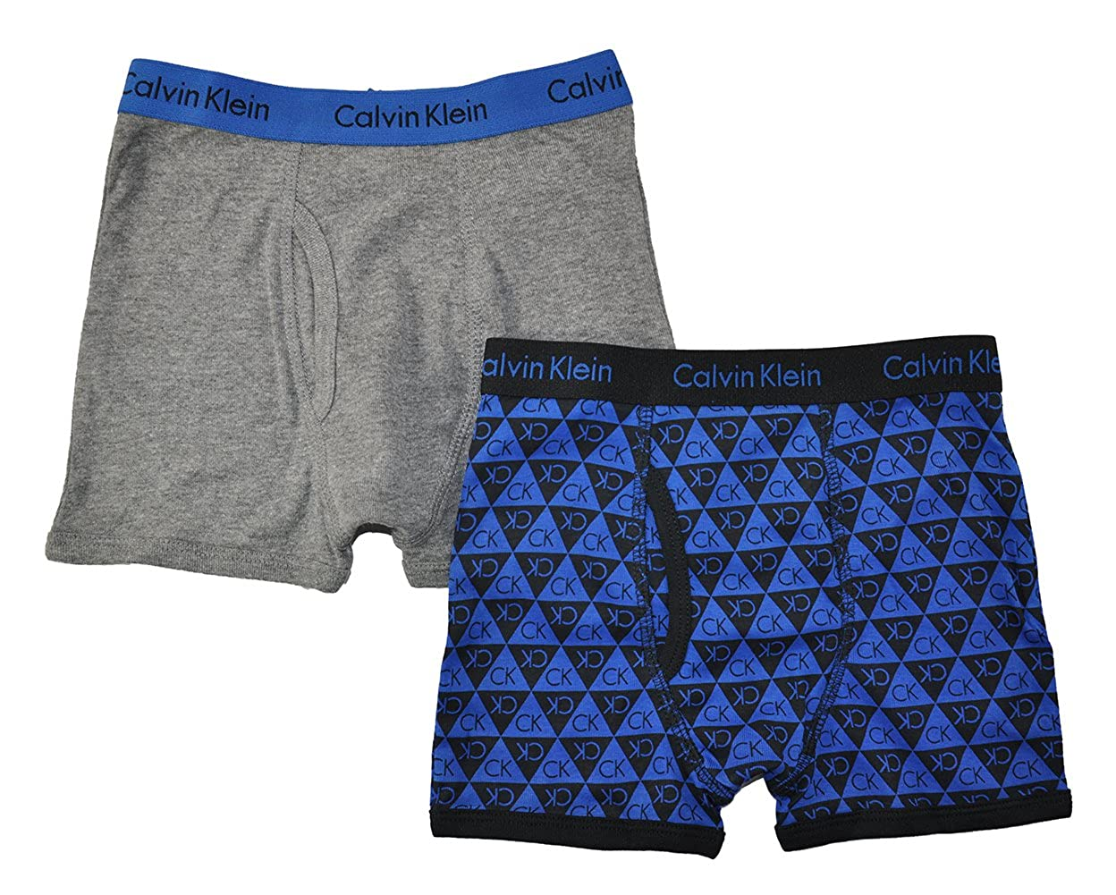 Calvin Klein Little/Big Boys' Assorted Boxer Briefs (Pack of 2) (X-Small / 4-5, Blue/Gray/Triangle) 37D67165