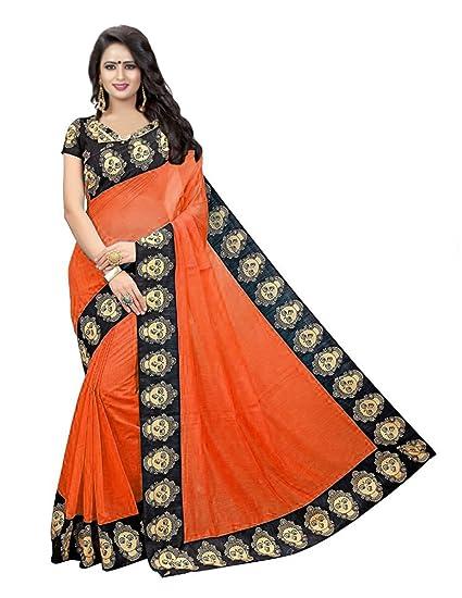 ab8b0796b2a536 Pujia Mills Beautifull Orange Chanderi Cotton Plain Kalamkari Printed  Border Saree With Blouse Piece  Amazon.in  Clothing   Accessories
