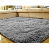 Uheng 2.6' x 6.6' Super Soft Indoor Modern Shag Area Silky Smooth Fur Rugs Fluffy Rugs Anti-Skid Shaggy Area Rug Dining Living Room Home Bedroom Carpet Floor Mat - Pink Grey Uheng