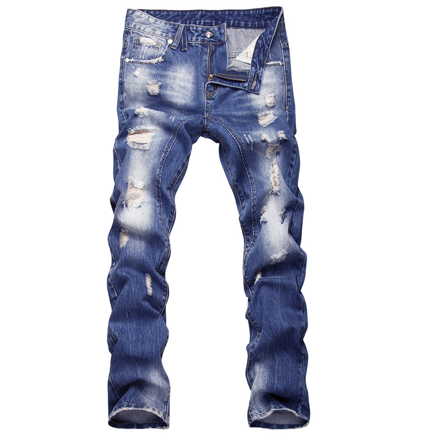 TOPING Fine 2018 New Style Hole Patch Beggars Slim Men Jeans Pants Men's Denim Straight Trousers 29-40 AYG26 Fashion30