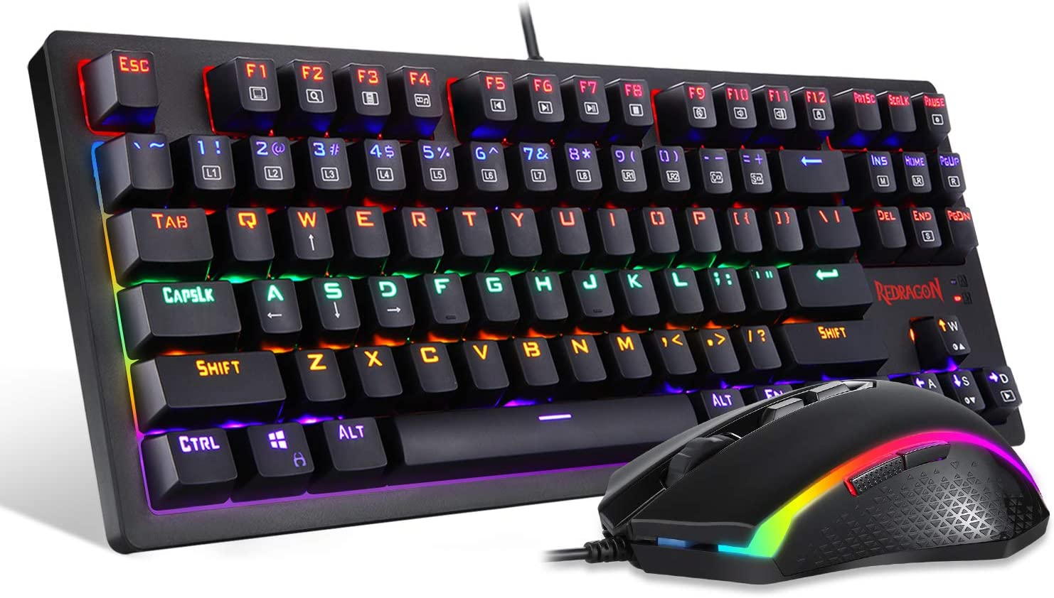 Redragon S113 Gaming Keyboard Mouse Combo Wired Mechanical LED RGB Rainbow Keyboard Backlit with Brown Switches and RGB Gaming Mouse 4200 DPI for Windows PC Gamers