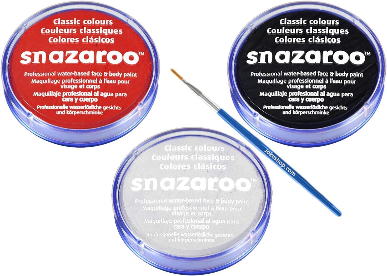 Jokeshop.com SNAZAROO - Juego de Pintura para Rostro y Cuerpo (18 ml), Color Negro, Blanco, Rojo: Amazon.es: Juguetes y juegos