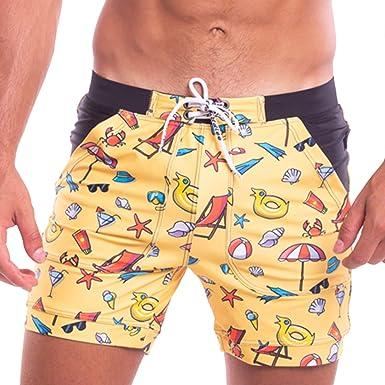 1871a7e830 Taddlee Men Swimwear Swimsuits Flower Print Surf Board Boxer Shorts Trunks  Long (S,S209