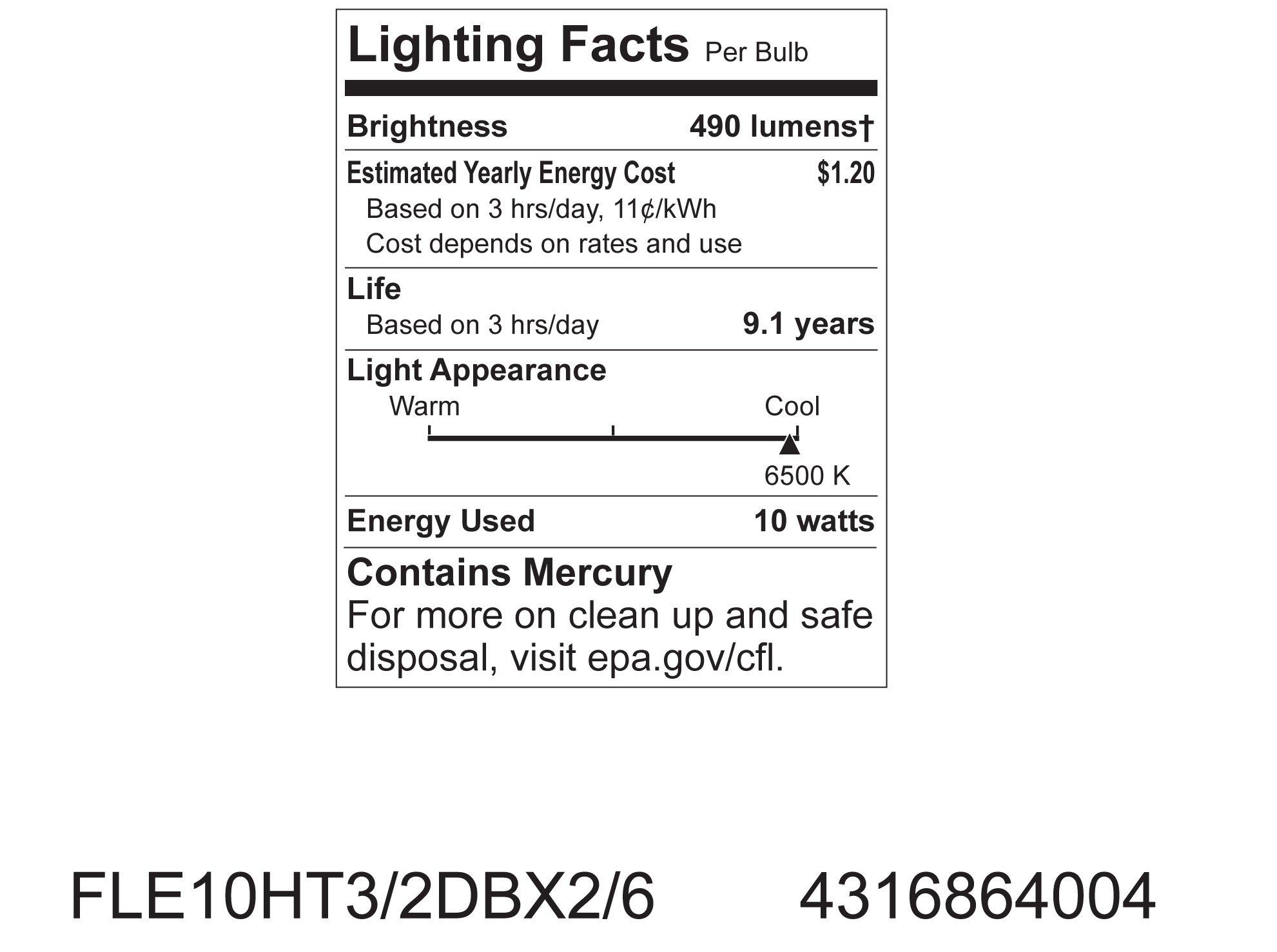 GE Lighting 64004 Energy Smart Spiral CFL 10-Watt (40-watt replacement) 490-Lumen T3 Spiral Light Bulb with Medium Base, 12-Pack