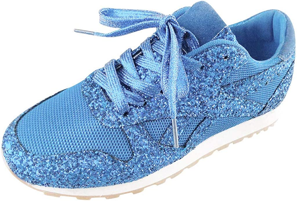 Dainzuy Womens Low Top Lace-Up Glitter Sports Running Sneakers Casual Breathable Crystal Bling Slip On Fashion Sneakers