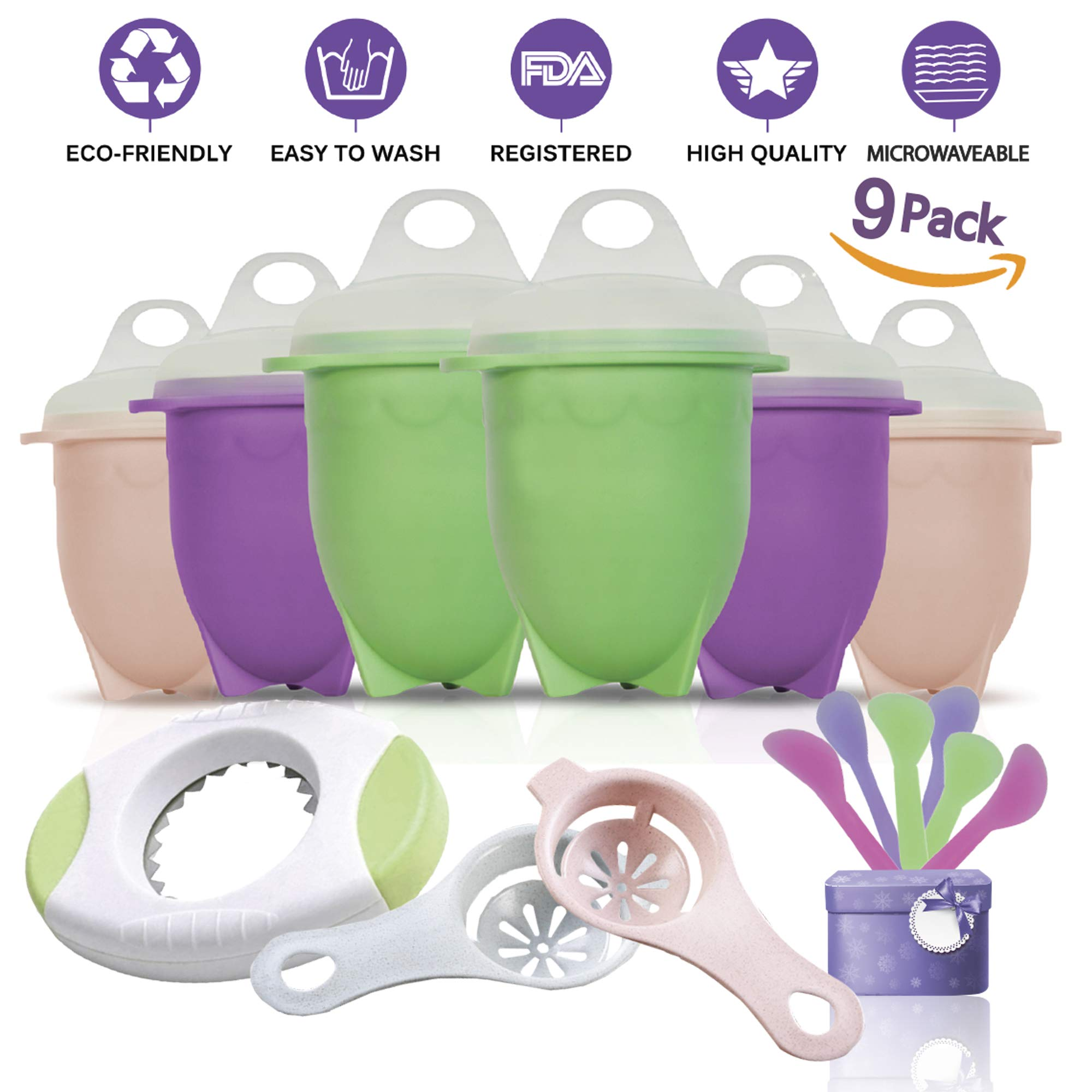 Silicone Egg Cooker Extended-Eggs Poacher Maker, Soft & Hard Boiled Eggs Without the Shell, 100% Nonstick Material, Suitable for Microwave- 6 Cups, Egg Cracker & 2 Egg Separators & 6 Flat Spoons Set