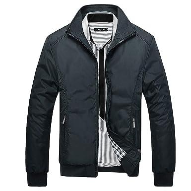 458b3d3a7 ZHANGZZ Men Male Casual Mandarin Collar Solid Jackets M-XXXL New Men's  Fashion Overcoat Clothing