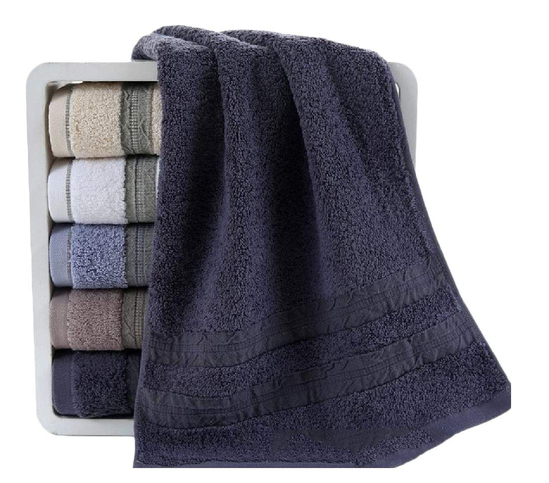 Fseason Stylish Antibacterial for Hotel and Spa No Fading Ultra Absorbent Eco-Friendly Natural Fit-and-Flare Oversized Dressy Quick Drying Bath Towel Set Dark Blue 70140