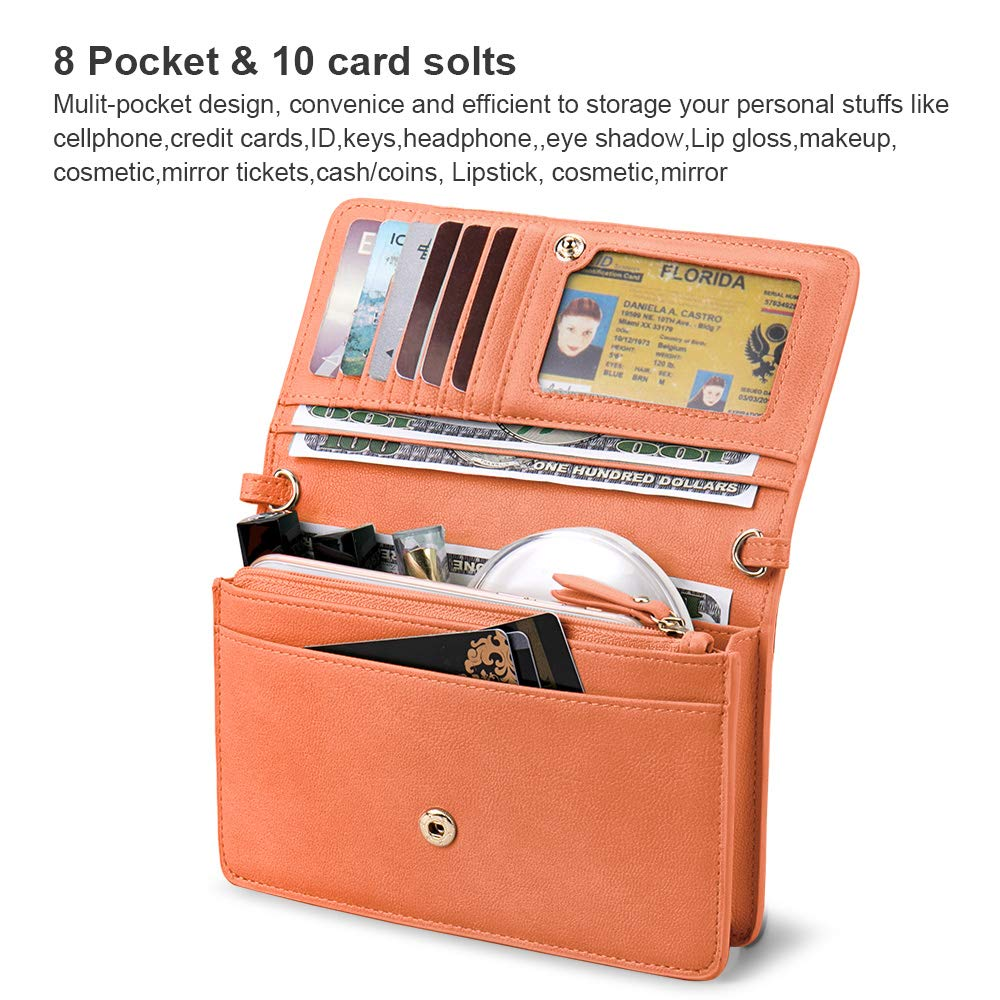 nuoku Women Small Crossbody Bag Cellphone Purse Wallet with RFID Card Slots 2 Strap Wristlet(Max 6.5'') … (Orange) by nuoku (Image #3)
