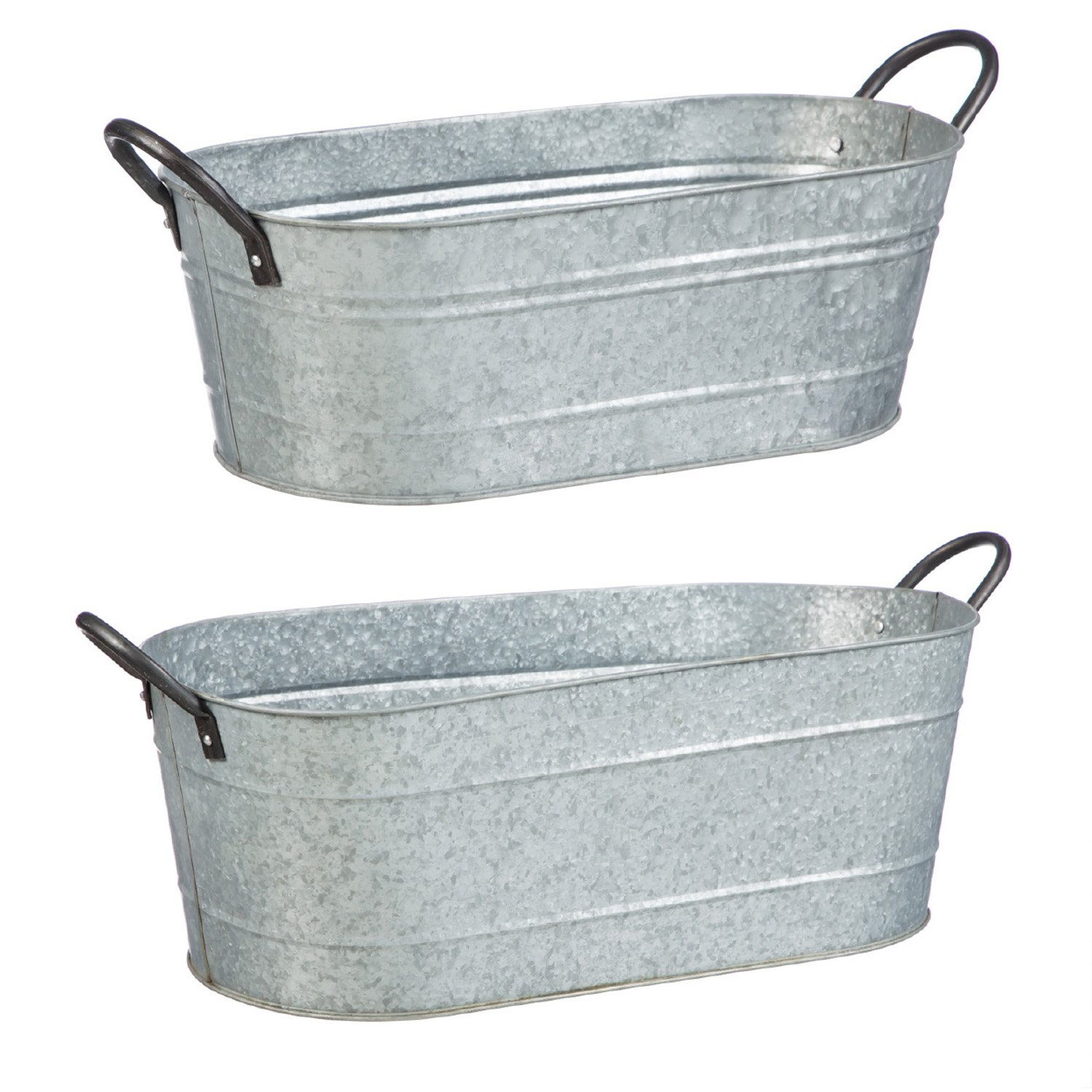 Evergreen Garden Urban Garden Galvanized Metal Containers, Set of 2