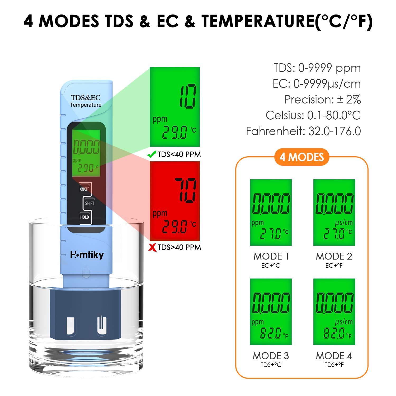 TDS Testeur de qualit/é de leau,0 9990 ppm Plage de mesure,1 PPM R/ésolution,2/% Pr/écision de Lecture