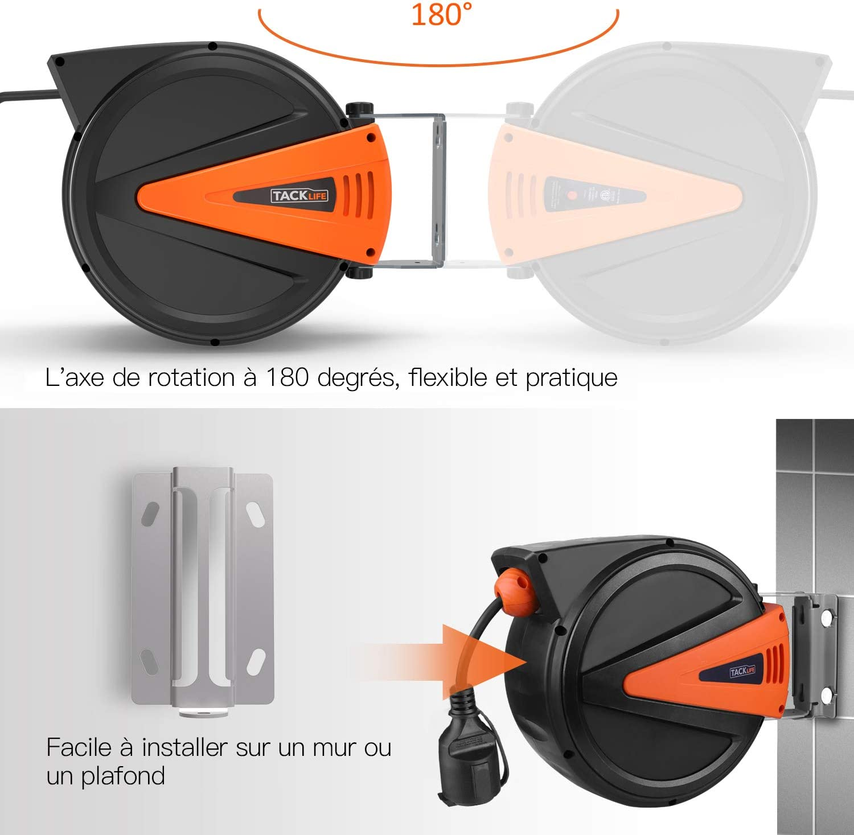 Protection Contre La Surchauffe 3200W 1100W Enti/èrement R/étract/é TACKLIFE Enrouleur Electrique Automatique; 15M+1M de C/âble 3/×1.5 H05RR-F Enti/èrement Dessin/é