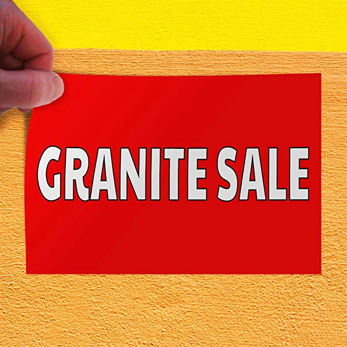 One Sticker 24inx16in Decal Sticker Multiple Sizes Granite red White Business Granite Outdoor Store Sign Red