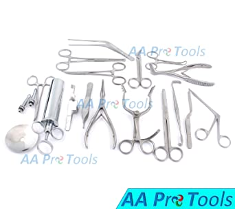 AA PRO Set of 16 PCS (ENT) Ear and Nose Instruments Forceps Vienna Nasal  Speculum Hartman Alligator ! Ear Syringe Scissors A+ Quality