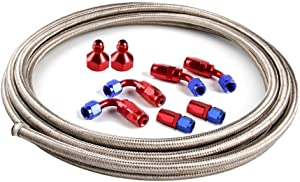 SUNROAD 6AN 12Ft Universal Braided Oil Fuel Line Hose Stainless Steel Nylon with 6PC AN-6 Swivel Hose Ends & 2PC AN-6 to AN-10 Fuel Tank Fitting Adapters Kit-Silver-Red-Blue