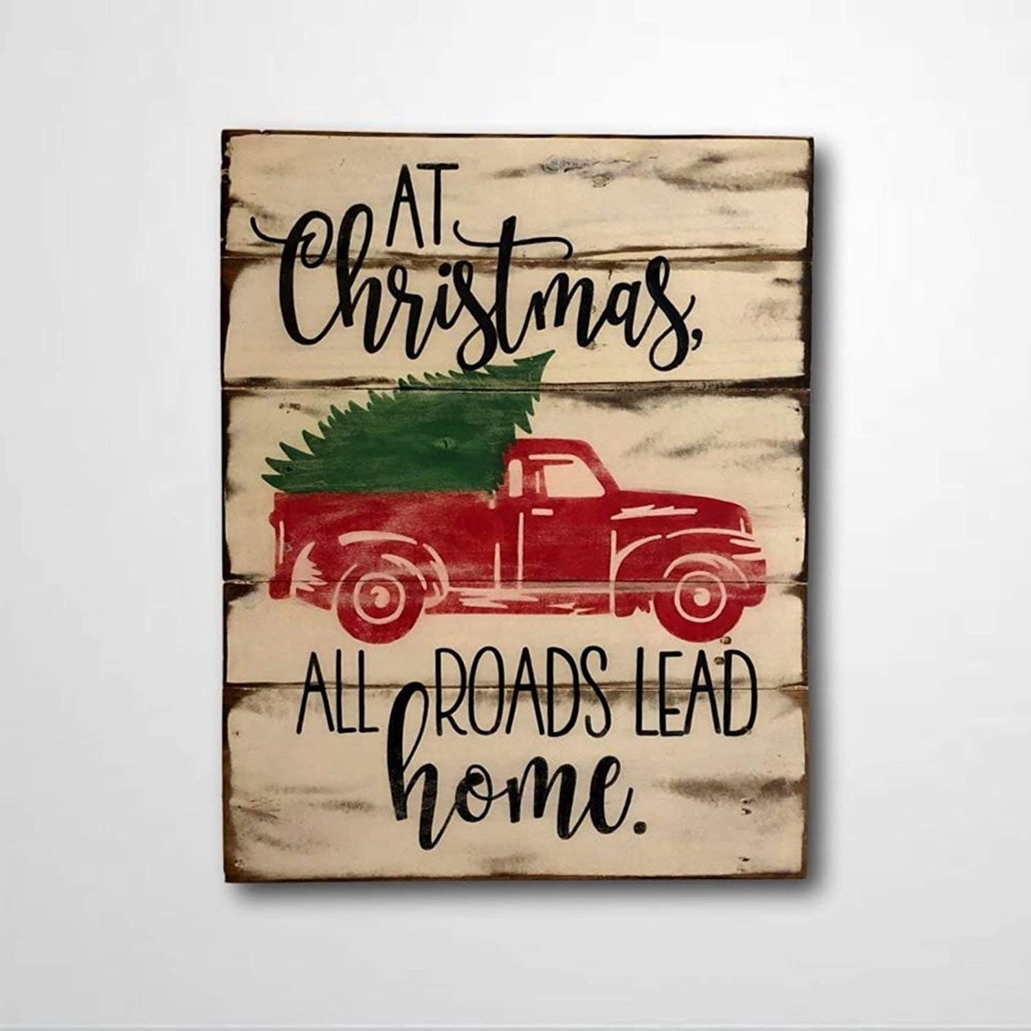 DONL9BAUER at Christmas All Roads Lead Home Wood Sign Farmhouse Christmas Sign Truck Sign Christmas Mantel Decor Wall Hanging Home Decor Indoor Outdoor