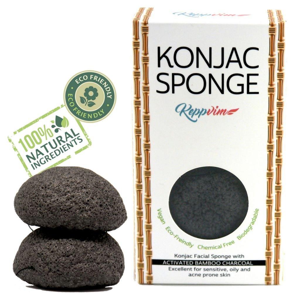 Esponja Konjac Orgánico con Carbón Activado - limpiador facial - Grasas y Propensas al Acné - 2 Piezas: Amazon.es: Belleza