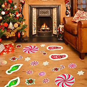 Kiddale Christmas Peppermint Floor Decals Stickers for Christmas Decoration 54 pcs Christmas footprints party decals Xmas Candy Land Party Decor and Supplies