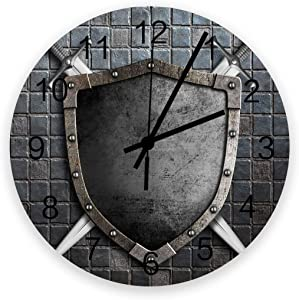 12 Inch Silent Round Wooden Wall Clock Medieval Knight Shield Wall Clock, Non Ticking Battery Operated Quartz Home Decor Wall Clocks for Living Room/Kitchen/Office
