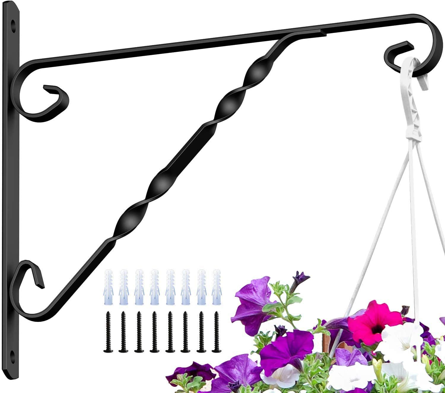"Amagabeli 4 Pack Hanging Plants Bracket 12"" Hanger Planter Hooks Flower Pot Bird Feeder Wind Chimes Lanterns Hanger Patio Lawn Garden for Outdoor Indoor Wall Fence Fence Screw Mount Arm Black"