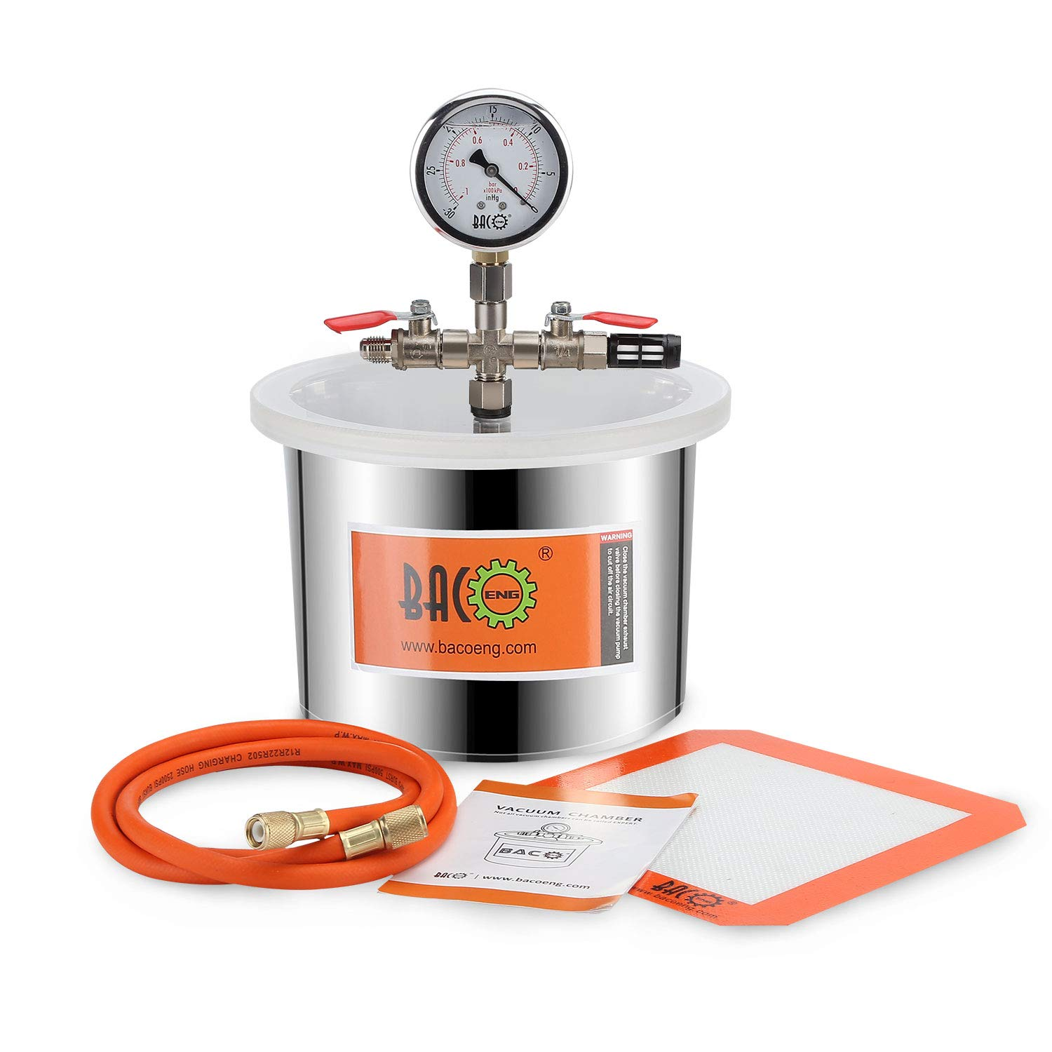 BACOENG 1.5 Gallon Stainless Steel Vacuum Chamber Silicone Kit for Degassing Resins, Silicone and Epoxies by BACOENG (Image #1)