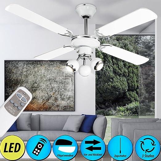 DEL Ventilateur plafond lampe télécommande 3-Niveaux Refroidisseur Radiateur Éclairage Coloré