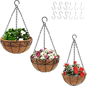 CEED4U 6 Packs 8, 10, 12 Inches Metal Hanging Planter Basket with Coco Liner and 12 Packs Hooks, Round Wire Hanging Planters with Chain for Porch, Lawn, Patio, Garden, Deck, Balcony