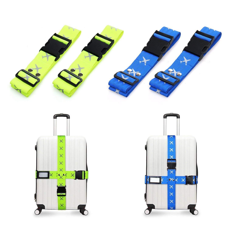 4 pezzi di Cintura regolabile con 2 pezzi Cinghie per bagagli con Fibbia Sicura viaggio cinghie bagagli con Etichette Identificatore Veramz Cinghia per Valigia Accessori indispensabili per viaggiar