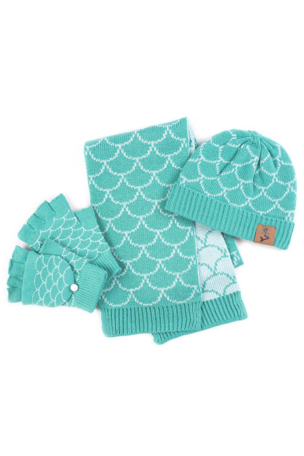 Fin Fun Mermaid Scales Hat, Gloves, Scarf Set for Girls and Adults