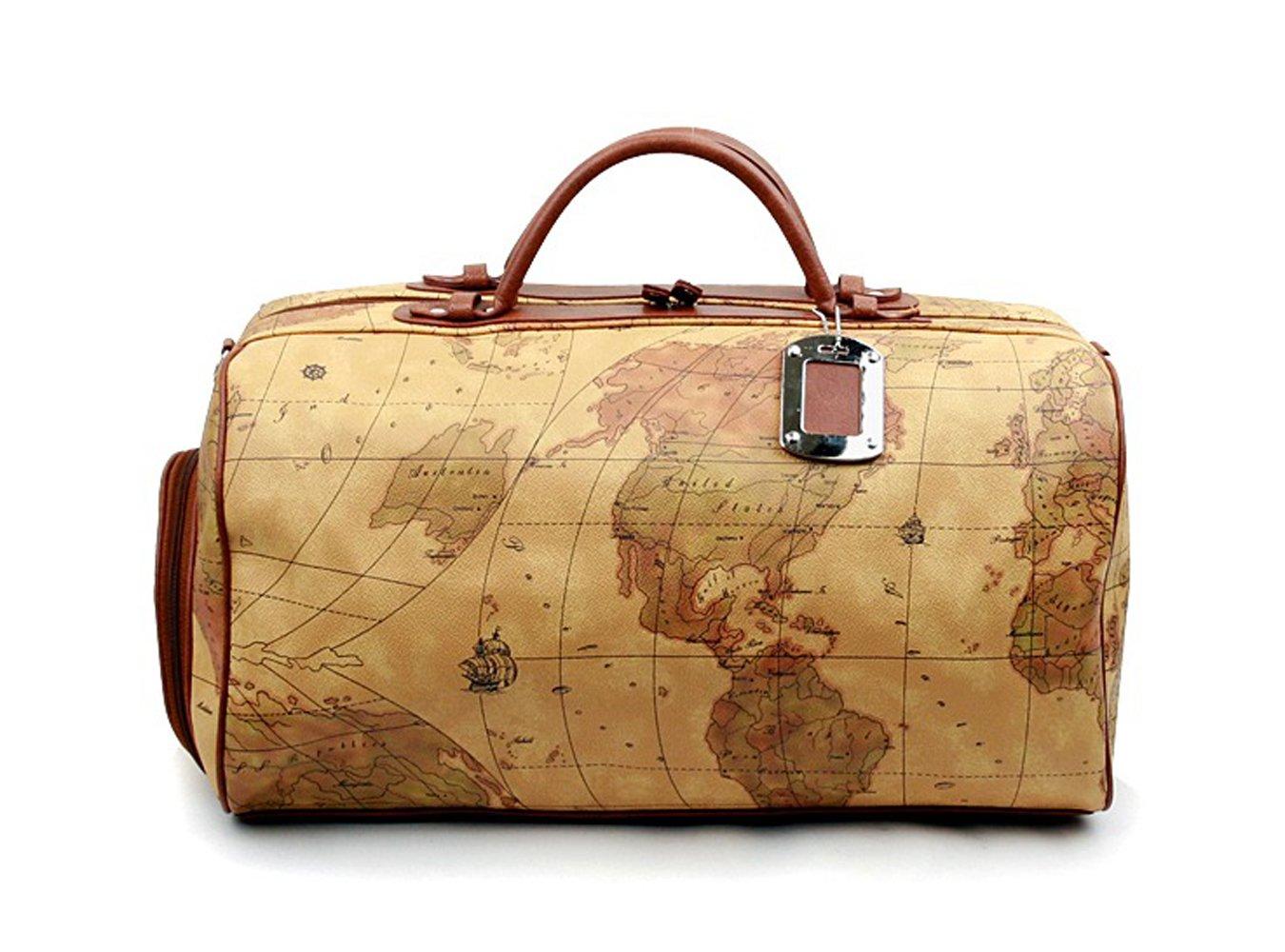 K-Style   MAP BOSTON BAG Travel Tote Duffel Bag Carry on Bag Weekender Overnight Bag