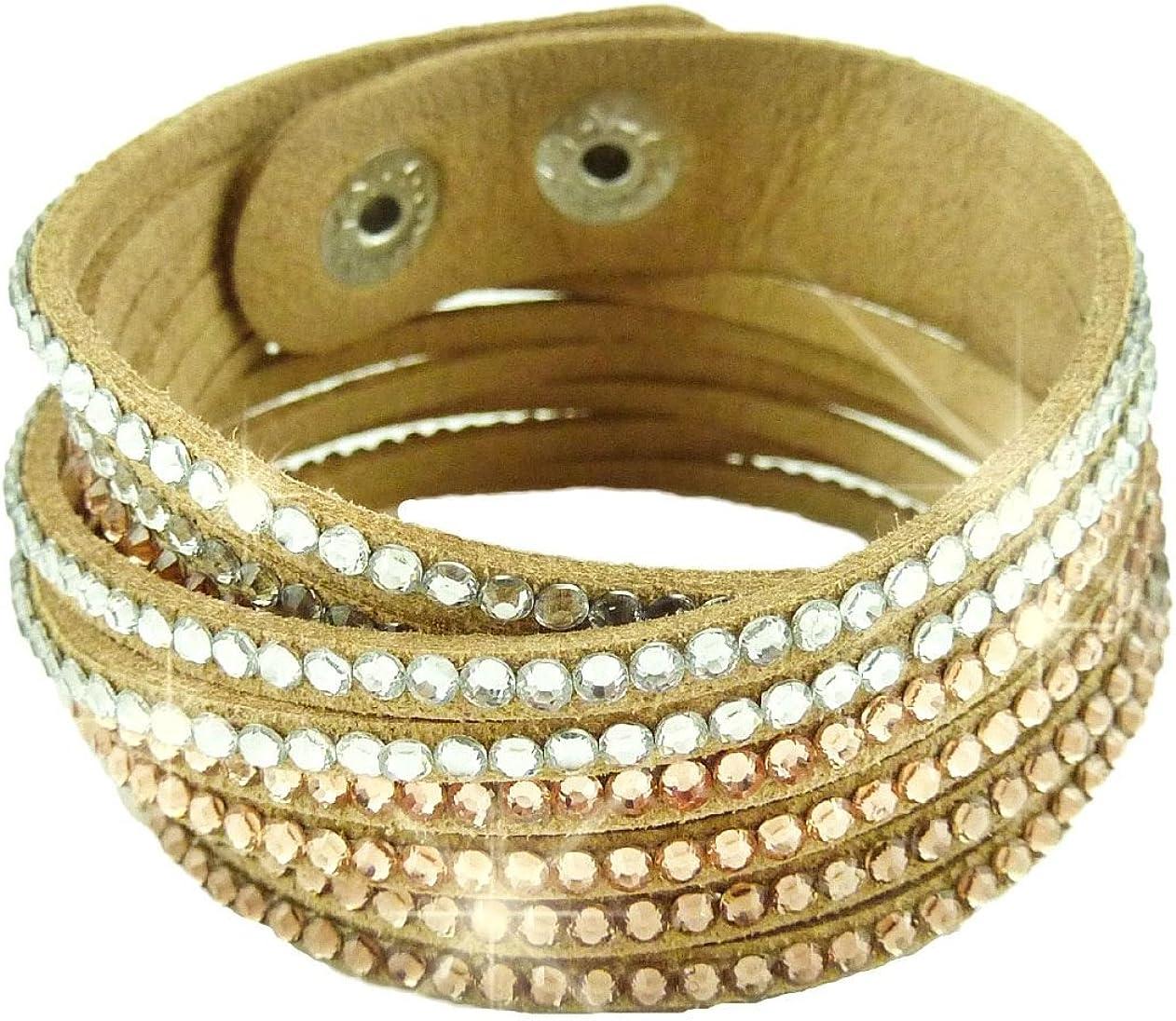 Bracelet Wrap Slake Cascade Brillant Cristalen cuir de Daim Camel Marron