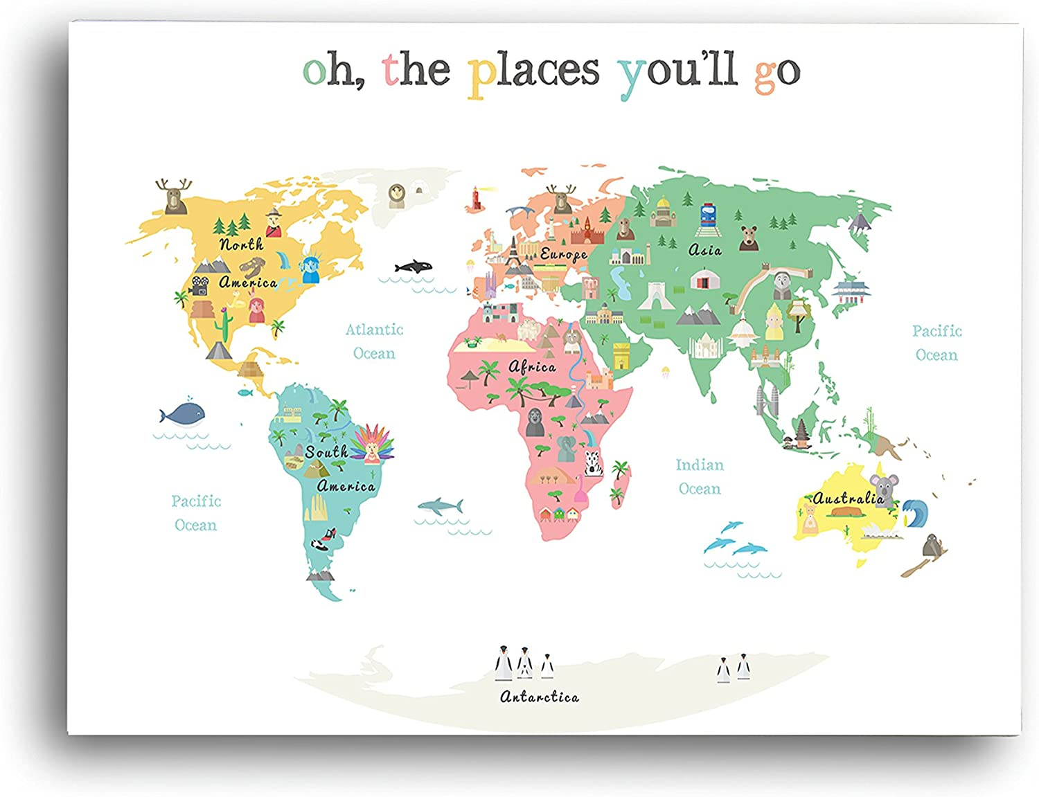 """""""Oh The Places You'll Go"""" Children's Illustrated World Map Poster (14x11"""") - Global Nursery Art - Perfect for Nursery Decor, Bedroom Decor, Playroom Map, and Classroom Map- Educational Kid's Room Map"""
