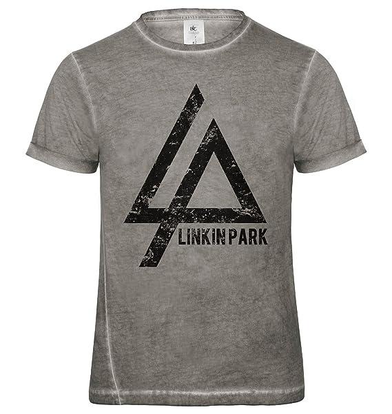 LaMAGLIERIA Camiseta Hombre Vintage Look Linkin Park Cod. Grpr0098 - t-Shirt dnm Plug in Vintage con Estampa Rock Lfs87gzz