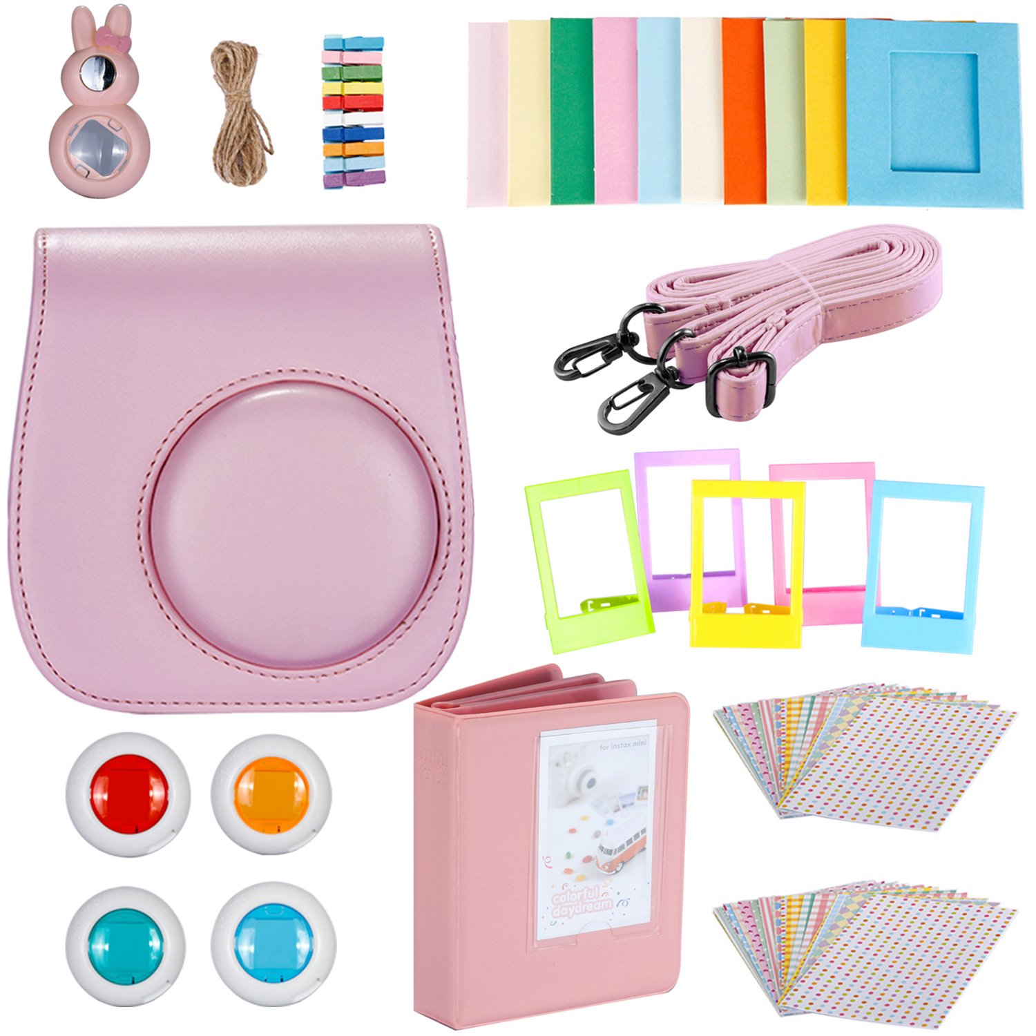 Neewer 9-in-1 Camera Bundles Set for Fujifilm Instax Mini 8/8s/9, Include Album/Selfie Lens/Colored Filters/Wall Hang Frames/Film Frames/Border Stickers/Camera Case (Pink)