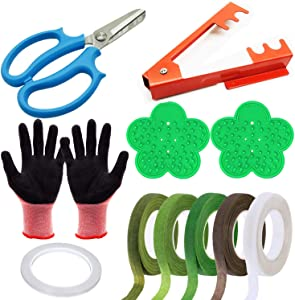 Woohome 11 PCS Garden Pruning Shears Scissors Kit, Rose Stripper Thorn Remover, Tree Pruner Hand Tools, Leaf Stripping Tool, Floral Gloves and Floral Tape for Gardening Flower Arrangement