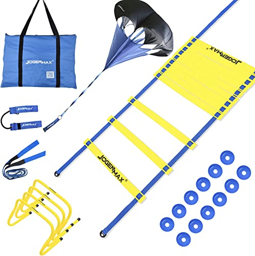 JOGENMAX Speed Agility Training Set – Includes Resistance Parachute, Agility Ladder, 4 Adjustable Hurdles, 12 Disc Cones, Leg Resistance Tube and Stretching Strap Training Equipment for All Sports