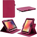 rooCASE Google Nexus 10 Dual-View Multi Angle (Magenta) Genuine Leather Folio Case - Support Landscape / Portrait / Typing Stand / Auto Sleep and Wake