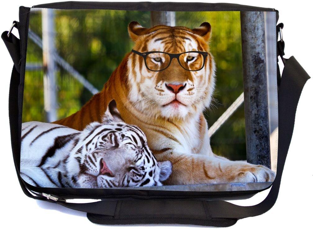 Rikki Knight Hipster Bengal Tigers Resting with Glasses - Premium 1600D Messenger Bag - School Bag Ideal for School or College (UKBK Design)