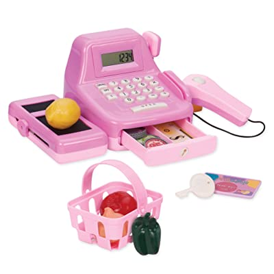 Play Circle by Battat – Pink Cha-Ching Cash Register Set with Sounds – Calculator, Scanner, Play Money, and Plastic Coins – Learn & Play Shopping Toys for Kids Ages 3 and Up (26 Pieces), Multicolor: Toys & Games [5Bkhe1007259]