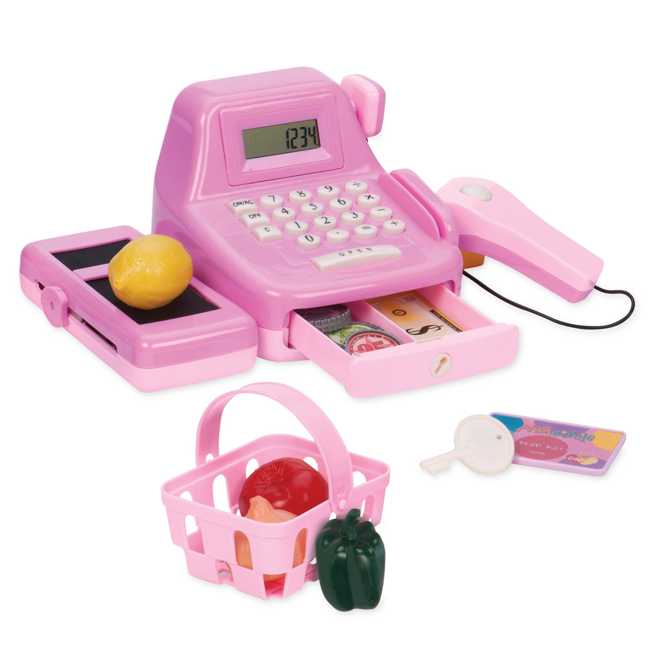 Play Circle by Battat - Cha-Ching Cash Register Set - 26-piece Kids Toy Cash Register With Scanner, Calculator, Money, and Sounds - Plastic Cash Register Toy For Kids Age 3 Years and Up by Play Circle by Battat